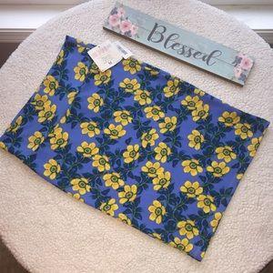 LuLaRoe Cassie Skirt Yellow & Blue Floral